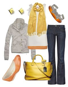 """""""spring citrus"""" by htotheb ❤ liked on Polyvore featuring PONO, Abercrombie & Fitch, Levi's Made & Crafted, Scoop, Juicy Couture, PASHMINA ART, Reed Krakoff, Nine West, Forever 21 and Eddie Borgo"""