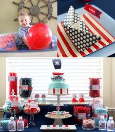 "Ahoy, mateys! A blue-and-red ""sweets bar"" with color-coordinating candies, cupcakes, and a pirate birthday cake are a must have for a nautical pirate birthday party. Source: Pink Piggy Design"