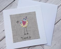 Original textile card, greeting card, bird card, tweet, textile artwork, handmade card, blank card, unique, pretty