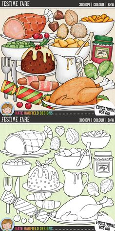 Festive Fare - Christmas food clip art for teachers! This hand painted set contains coloured clipart Scrapbook Kit, Digital Scrapbook Paper, Scrapbook Templates, Digital Scrapbooking Layouts, Scrapbook Titles, Traditional Christmas Dinner, Food Doodles, Christmas Information, Food Clips