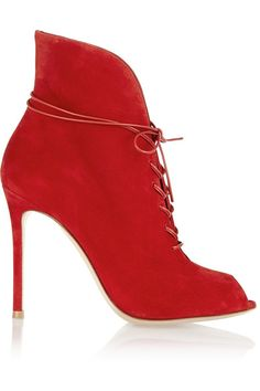 Heel measures approximately 105mm/ 4 inches Red suede Lace-up front Designer color: Tabasco