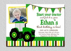 Items similar to Pink Tractor Birthday Invitation, Girls Farm Birthday, Pink Tractor Birthday Party Invitation, Girls Petting Zoo Birthday, Farm Tractor on Etsy Tractor Birthday Invitations, Printable Birthday Invitations, Baby Shower Invitations, Birthday Template, Wedding Invitations, John Deere Baby, Farm Birthday, Invitation Design, Tractors
