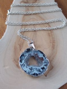 Geode Necklace on Sterling Silver Chain: Geode by MalieCreations