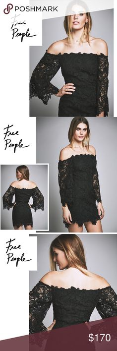 NWT Free People Dusk Lace Party Dress Black NWT Beautiful off-the-shoulder floral crochet dress featuring delicate scalloped trim and sheer sleeves. Elastic neckline and hidden side zip for an easy, effortless fit. Lined. Free People Dresses Long Sleeve