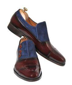 Handmade Bordeaux and Blue Men Shoes – Ustabas Shoes - Men's style, accessories, mens fashion trends 2020 Me Too Shoes, Men's Shoes, Shoe Boots, Dress Shoes, Shoes Men, Dress Clothes, Bordeaux, Tuxedo Shoes, Simple Shoes
