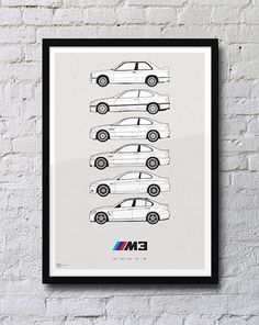 BMW M3 générations Poster par HivePosters sur Etsy