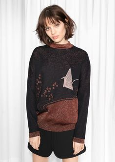& Other Stories Patchwork Glitter Knit  in Black