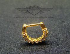 Septum, Septumpiercing, 24 Karat vergoldet, Edelkristalle, Nase, Gold
