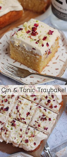 A Delicious and Delectable Gin and Tonic Traybake Cake with Gin and Tonic Drizzled Sponge and Gin Infused Buttercream Frosting! Gin Recipes, Tray Bake Recipes, Sweet Recipes, Baking Recipes, Cake Recipes, Dessert Recipes, Recipies, Baking Ideas, Other Recipes