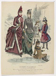 P. Deferneville | La Femme et la Famille et Le Journal des Jeunes Personnes Réunis, Février 1886 : Parfumerie Oriza..., P. Deferneville, Selle & Châlon, 1886 | Twee vrouwen en drie meisjes in de sneeuw, in winterkleding. De meisjes hebben schaatsen omgebonden, één van hen zit op het ijs. Onder de voorstelling enkele regels reclametekst voor verschillende producten. Prent uit het modetijdschrift La Femme et la Famille (1867-1905).