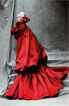 """fiammaditd: """" Amazing Daphne Guinness in a red silk coat from Alexander McQueen AW 2008/2009 """"The Girl Who Lived in the Tree"""", photographed by Michael Roberts for Vanity Fair. """""""