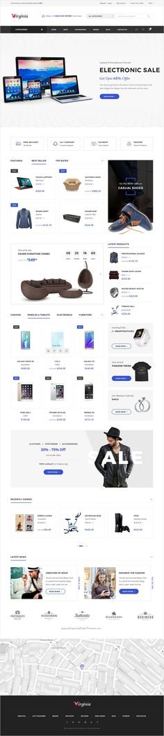 Virginia is beautifully design #PSD template for multipurpose #electronics #shop eCommerce website with 5+ homepage layouts and 32 PSD pages download now ⇨ https://themeforest.net/item/virginia-ecommerce-psd-template/17279531?ref=Datasata