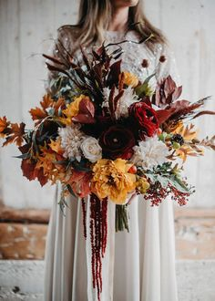 Get The Look: Wedding Bouquet Made with Silk Fall Flowers-Create your bridal bouquet with premium artificial and dried flowers from . Bridal Bouquet Fall, Fall Bouquets, Fall Wedding Bouquets, Fall Wedding Flowers, Fall Wedding Colors, Fall Flowers, Dried Flowers, Bridal Flowers, Floral Wedding