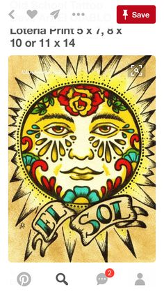 Mexican Folk Art Prints Sun Moon Loteria El SOL by illustratedink Art Soleil, Tattoo Modern, Diy Bordados, Desenhos Old School, Los Muertos Tattoo, Tattoo Mond, Loteria Cards, Old School Tattoo Designs, Kunst Tattoos