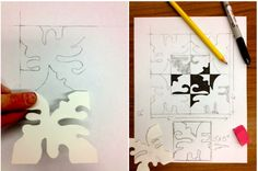 """Abstract Design-Using a 3""""x3"""" tag board square, students create a symmetrical black and white design. The format for the stencil is a 6""""x6"""" square divided into 4 quadrants. There is a 3""""x3"""" square drawn in the center. (part 1 and 2)"""