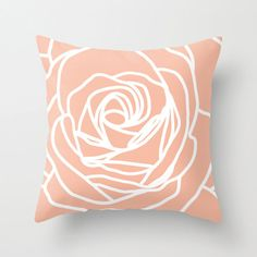 Rose Pillow Cover - Modern Flower - Peach - Pastel Home Decor - Accent Pillow - Modern - Decorative Pillow - Designer Flower Pillow
