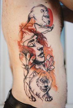 Done By Robert Borbas Tattoo Artist At Dark Art Tattoo Budapest - Polish artist creates elegant animal tattoos finished in vibrant colours