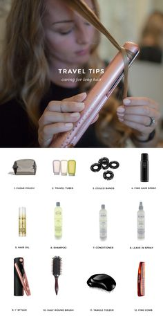travel light with long hair Tutorial - Packing Packing Tips, Packing List For Travel, Travel Tips, Smart Packing, Travel Hacks, Diy Beauty, Beauty Hacks, Beauty Tips, Travel Hairstyles