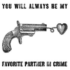 love notes, cards, note cards, love, partner in crime, heart, gun, pistol