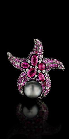 Segredos do oceano: Coleção Escurecimento 750 ouro, pérolas negras do mar, diamantes, rubis, safiras rosa.