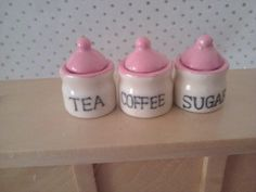 cream  pink canisters for dolls house kitchen 1 12th scale miniature