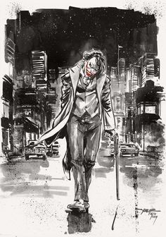 Day 24 - Joker inkwash on A4 canson paper