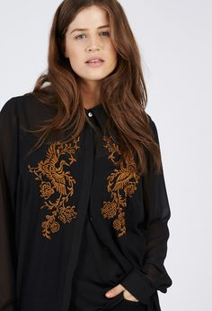 georgette hand embroidered shirt dress - anna scholz plus size