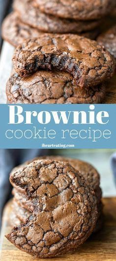 This brownie cookie recipe is all of the good parts of a brownie- crackly crust, fudgy middles, chewy edges, & intense chocolate flavor -in one easy, homemade cookie recipe. One of the best cookie recipes around! Smores Dessert, Dessert Dips, Brownie Desserts, Easy Desserts, Cookie Brownie Recipes, Yummy Dessert Recipes, Cookie Brownies, Brownie Ideas, Delicious Appetizers