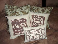 Freezer Paper Stencil - Theater Room Pillows