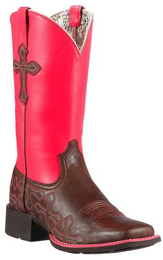 Ariat® Crossroads™ Women's Rich Chocolate with Neon Pink Top & Crosses Double Welt Square Toe Cowboy Boots