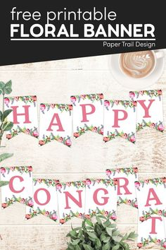 Print these floral banner letters to make any custom banner that you need including happy birthday, wedding, baby shower banners and more. First Birthday Parties, First Birthdays, Happy Birthday, Free Printable Alphabet Letters, Floral Banners, Banner Letters, Paper Trail, Baby Sprinkle, Custom Banners