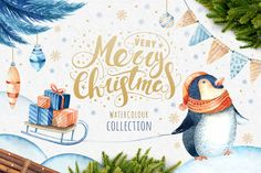 60%off Watercolour Christmas BUNDLE! by Peace ART on @creativemarket