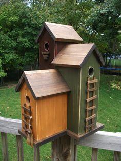FoLk Art Primitive Saltbox House Harvest Gold Antique Red Olive Green 3 Nesting Box Colored Garden BIRDHOUSE $99.99