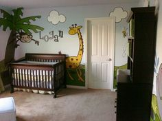 Logans Room, Jungle / safari theme, I spent close to 200 hrs. painting this room. The black outlining was what took the longest time & was harder than drawing the animals.  , Nurseries Design