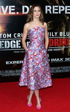 Emily Blunt in Osman -- bright print, with pockets!