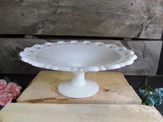 Vintage Milk Glass, Large Compote, Fruit or Desert Bowl, Old Colony, Lace Edged, Serving Dish, Retro Home Kitchenware by TheStorageChest on Etsy