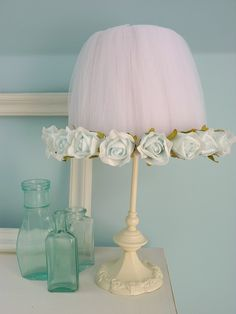 Vintage Shabby Pink Tulle & Roses..LOVE THE TULLE