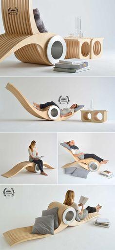 Si chiama Exocet ed è una bellissima poltrona trasformabile e multifunzione creata dal designer canadese Stéphane Leathead per Designarium