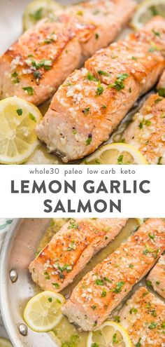 This lemon garlic salmon is out-of-this-world delicious. With only a few ingredients, it's easy and quick to make this healthy pan seared salmon. paleo, low carb, and keto, the lemon garlic butter sauce sauce and this salmon recipe is good enough Easy Paleo Dinner Recipes, Cooking Recipes, Lemon Recipes Dinner, Cooking Games, Dinner Healthy, Keto Dinner, Breakfast Recipes, Healthy Cooking, Cooking Classes