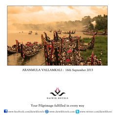 ARANMULA VALLAMKALI: 17th SEPTEMBER, 2013- This is the annual boat race festival held at the Sri Aranmula Parthasarthy Temple in the Aranmula District of Kerala. The exciting snake boat races are held during the time of Onam on the Pamba River and celebrate the establishment of the Krishna image in the temple. The snake boats, called palliyadams are a hundred feet in length and have a hood in front that resembles the hood of a snake.
