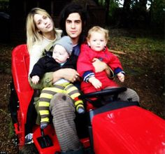 At peace: Peaches had finally found happiness with her husband Thomas Cohen. Here the couple are seen with their two young boys in November last year