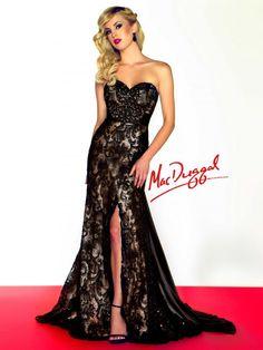 Black Shimmering Satin Lace Long Dress--Mac Duggal 78582R