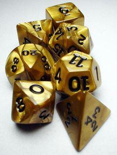 FRP GAMES - PRODUCT - Koplow RPG Dice Sets: Gold/Black Olympic Polyhedral 7-Die Set