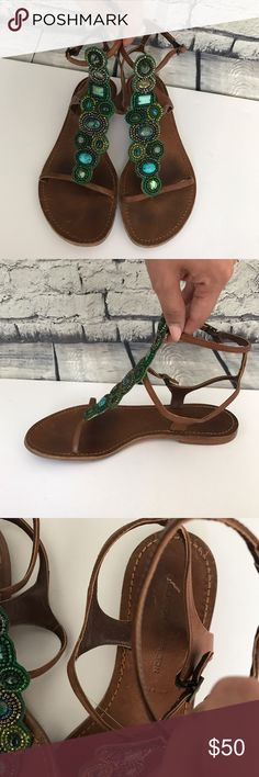Sigerson Morrison ankle strap sandals Beautiful green and turquoise beaded ankle strap sandals or gladiators. Two buckles Sigerson Morrison Shoes Sandals