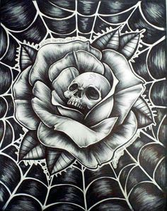 Roses are red the web is blue and this here skull is looking at you! Skull Rose Tattoos, Body Art Tattoos, Sleeve Tattoos, Cool Tattoos, Hot Rod Tattoo, Chicano Art Tattoos, Skull Tattoo Design, Tattoo Design Drawings, Tattoo Designs
