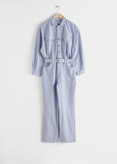 Belted Organic Cotton Utility Jumpsuit - Light Blue - Jumpsuits & Playsuits - & Other Stories