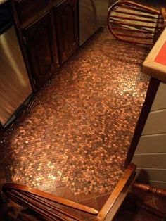 A floor using pennies.  Love it!