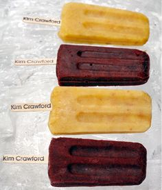 Sauvignon Blanc-Infused Yellow Peach and Vanilla Ice Pops   Pinot Noir-Infused Blackberry Ice Pops