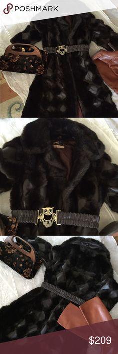 Vintage faux fur real leather coat Vintage groovy faux fur , real leather patch coat made in England . Super cute Vintage Jackets & Coats