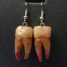 Creepy Teeth Earrings - polymer clay, by CreepStar on craftster.org